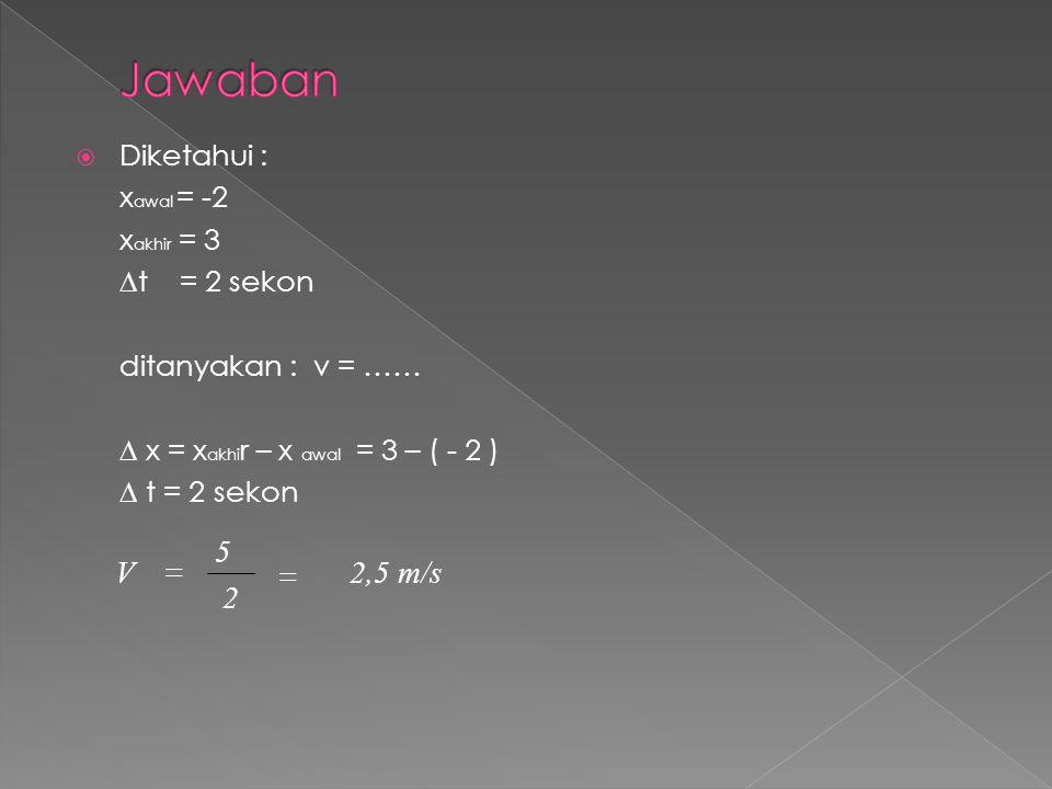  Diketahui : x awal = -2 x akhir = 3 ∆t = 2 sekon ditanyakan : v = …… ∆ x = x akhi r – x awal = 3 – ( - 2 ) ∆ t = 2 sekon 2 5 V  2,5 m/s 