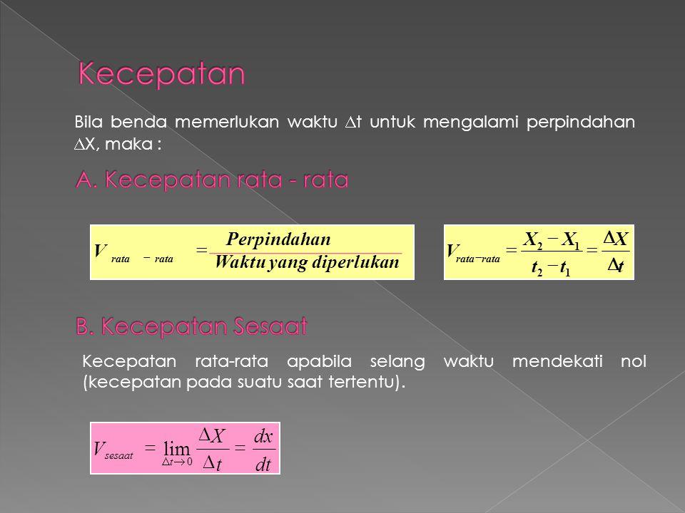 Bila benda memerlukan waktu  t untuk mengalami perpindahan  X, maka : t X tt XX V rata        12 12 Waktu yang diperlukan Perpindahan V rata