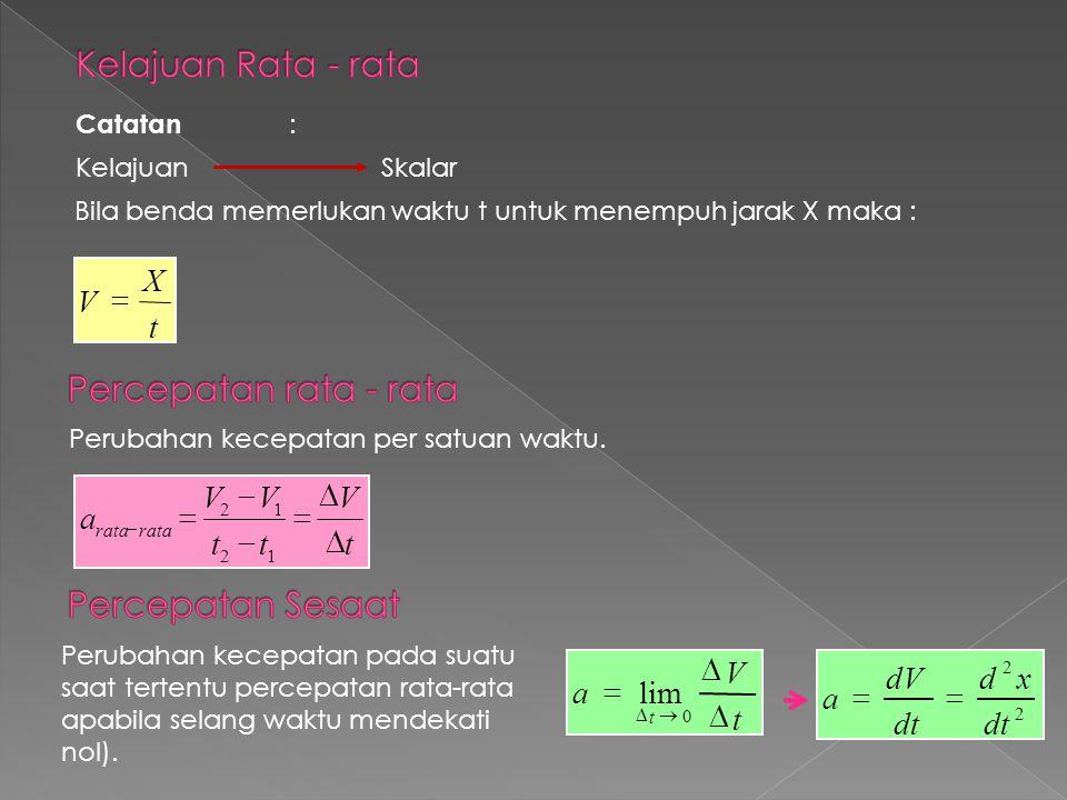 Catatan : Kelajuan Skalar Bila benda memerlukan waktu t untuk menempuh jarak X maka : t X V  Perubahan kecepatan per satuan waktu. t V tt VV a rata 