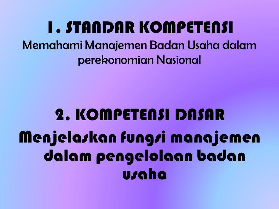1. STANDAR KOMPETENSI Memahami Manajemen Badan Usaha dalam perekonomian Nasional 2. KOMPETENSI DASAR Menjelaskan fungsi manajemen dalam pengelolaan ba