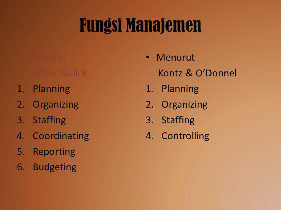 Fungsi Manajemen Menurut Luther Gulick 1.Planning 2.Organizing 3.Staffing 4.Coordinating 5.Reporting 6.Budgeting Menurut Kontz & O'Donnel 1.Planning 2