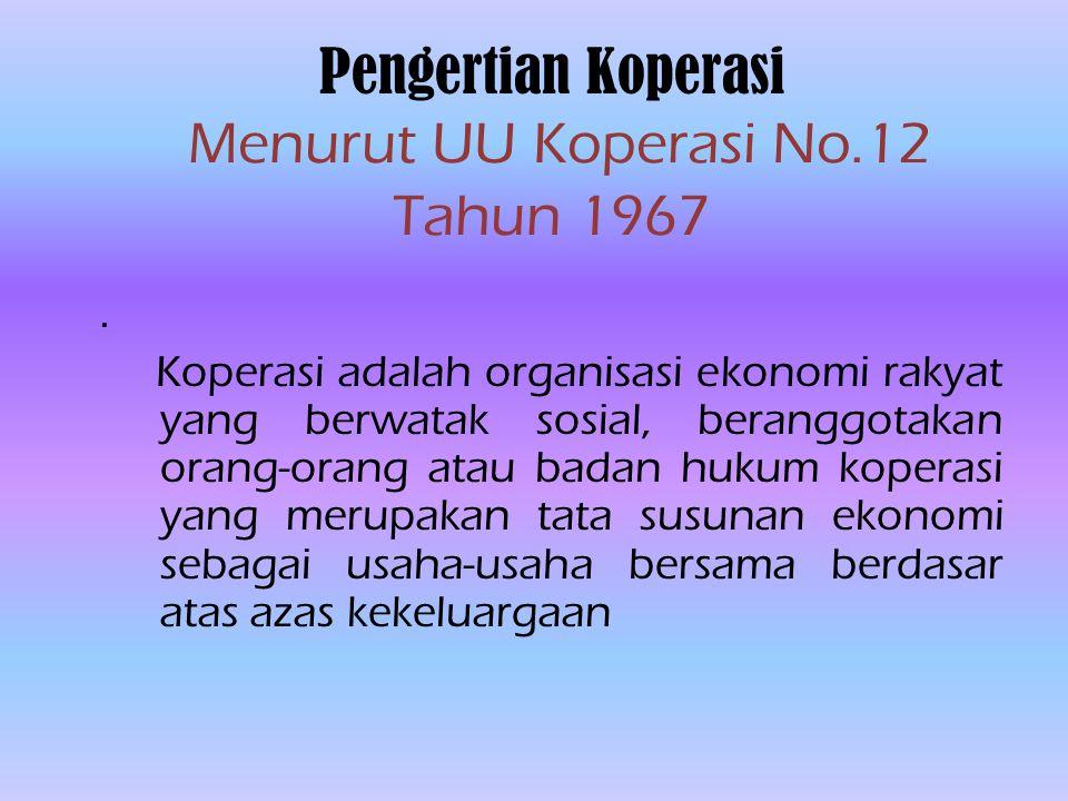 Pengertian Koperasi Menurut UU Koperasi No.12 Tahun 1967.
