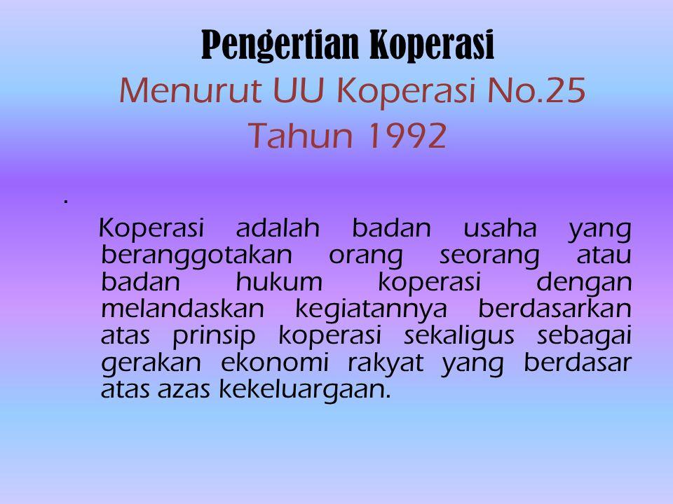 Pengertian Koperasi Menurut UU Koperasi No.25 Tahun 1992.