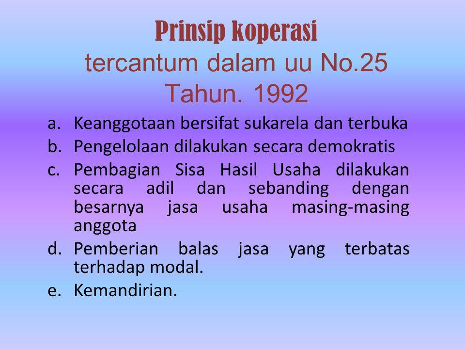 Prinsip koperasi tercantum dalam uu No.25 Tahun.