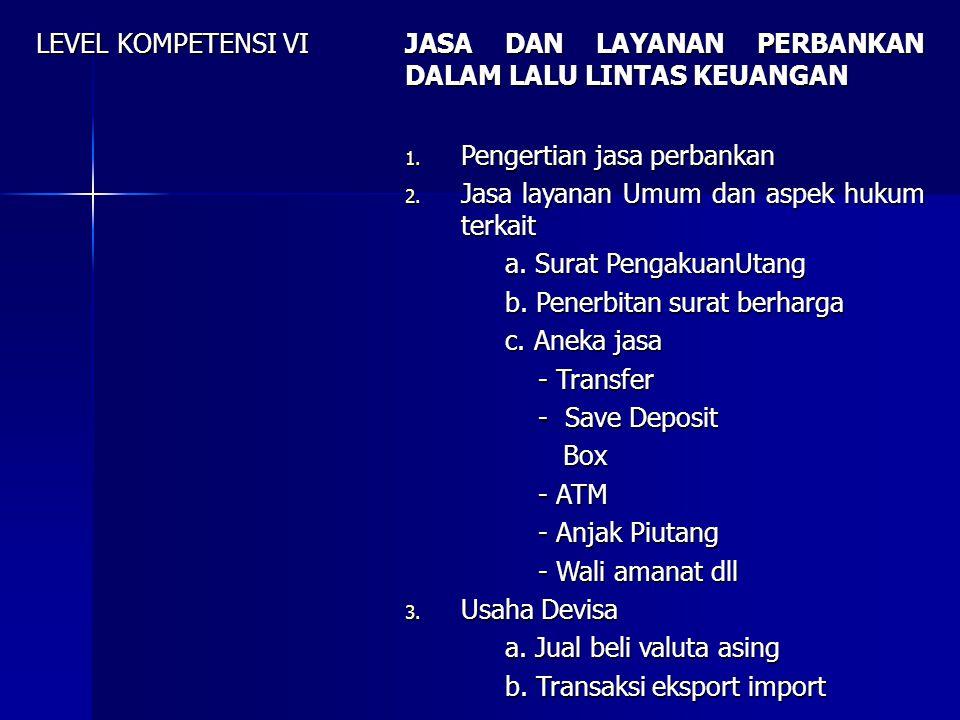 LEVEL KOMPETENSI VII BANK DAN NASABAH PERBANKAN 1.