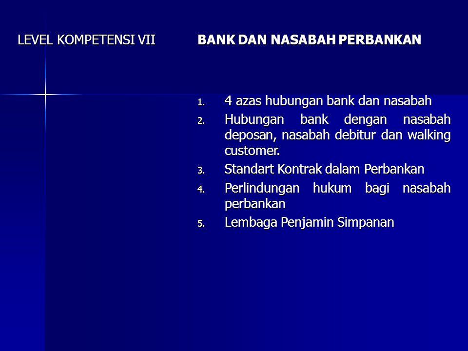 LEVEL KOMPETENSI VIII RAHASIA BANK 1.Pengertian rahasia bank 2.