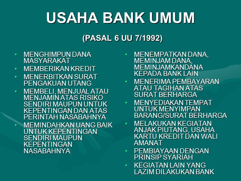 USAHA BANK UMUM (PASAL 6 UU 7/1992) MENGHIMPUN DANA MASYARAKATMENGHIMPUN DANA MASYARAKAT MEMBERIKAN KREDITMEMBERIKAN KREDIT MENERBITKAN SURAT PENGAKUA
