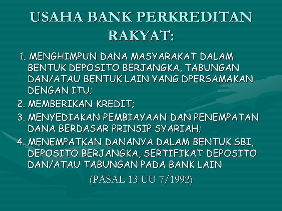 USAHA BANK PERKREDITAN RAKYAT: 1. MENGHIMPUN DANA MASYARAKAT DALAM BENTUK DEPOSITO BERJANGKA, TABUNGAN DAN/ATAU BENTUK LAIN YANG DPERSAMAKAN DENGAN IT