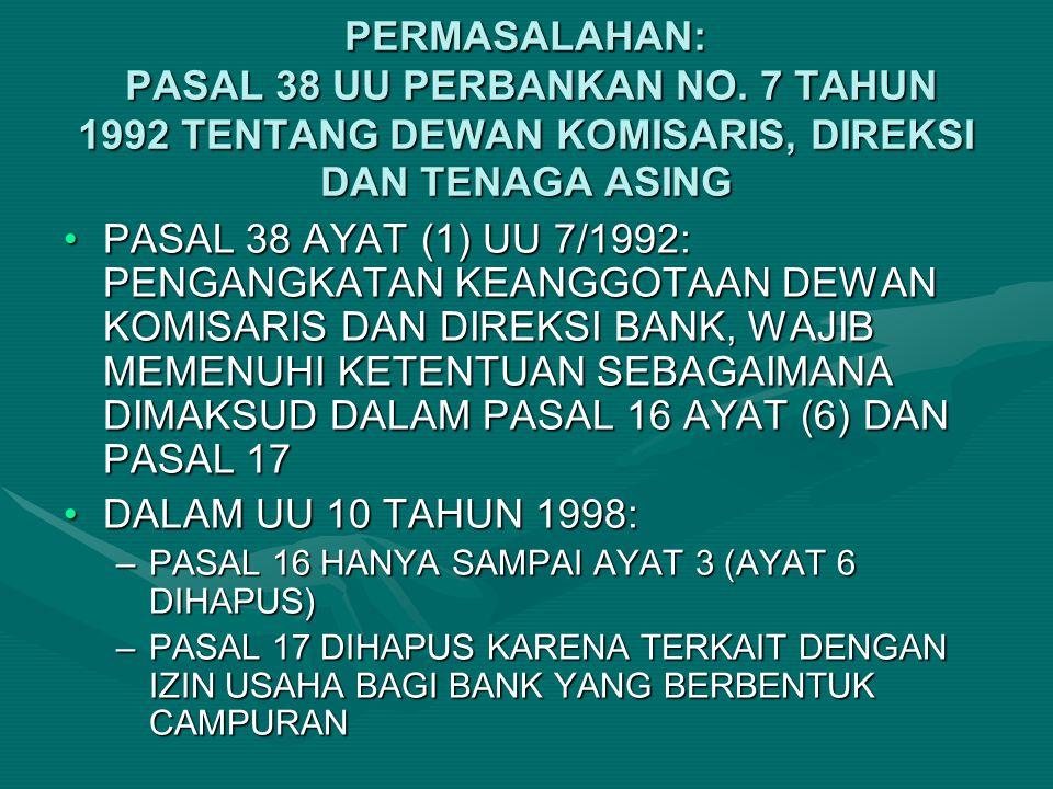 PERMASALAHAN: PASAL 38 UU PERBANKAN NO. 7 TAHUN 1992 TENTANG DEWAN KOMISARIS, DIREKSI DAN TENAGA ASING PASAL 38 AYAT (1) UU 7/1992: PENGANGKATAN KEANG