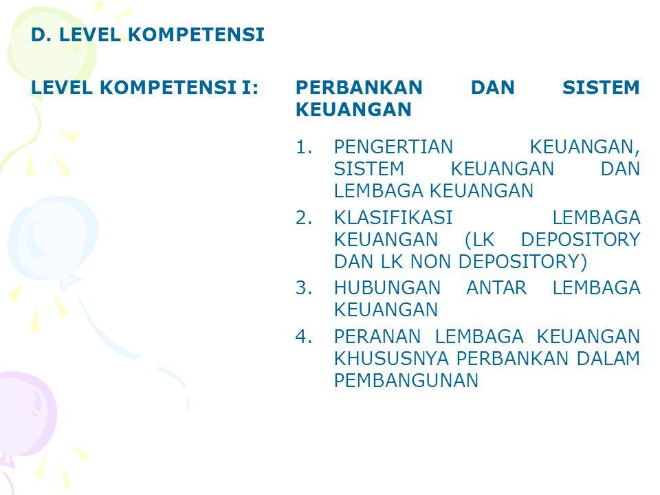 LEVEL KOMPETENSI IISISTEM PERBANKAN INDONESIA 1.PENGERTIAN BANK DAN PERBANKAN 2.SEJARAH PERBANKAN INDONESIA (UU 14/967, UU 7/1992, UU 10/1998) 3.AZAS, FUNGSI DAN TUJUAN 4.JENIS BANK 5.PENDIRIAN BANK 6.BANK INDONESIA (UU 13/1968, UU 23/1999, UU 3/2004) 7.TUJUAN DAN TUGAS BI 8.KEMANDIRIAN BI 9.PENGAWASAN DAN PEMBINAAN BI
