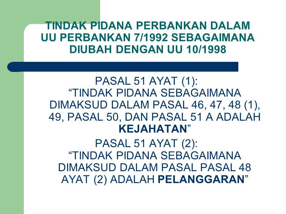 TINDAK PIDANA PERBANKAN DALAM UU PERBANKAN 7/1992 SEBAGAIMANA DIUBAH DENGAN UU 10/1998 PASAL 51 AYAT (1): TINDAK PIDANA SEBAGAIMANA DIMAKSUD DALAM PASAL 46, 47, 48 (1), 49, PASAL 50, DAN PASAL 51 A ADALAH KEJAHATAN PASAL 51 AYAT (2): TINDAK PIDANA SEBAGAIMANA DIMAKSUD DALAM PASAL PASAL 48 AYAT (2) ADALAH PELANGGARAN