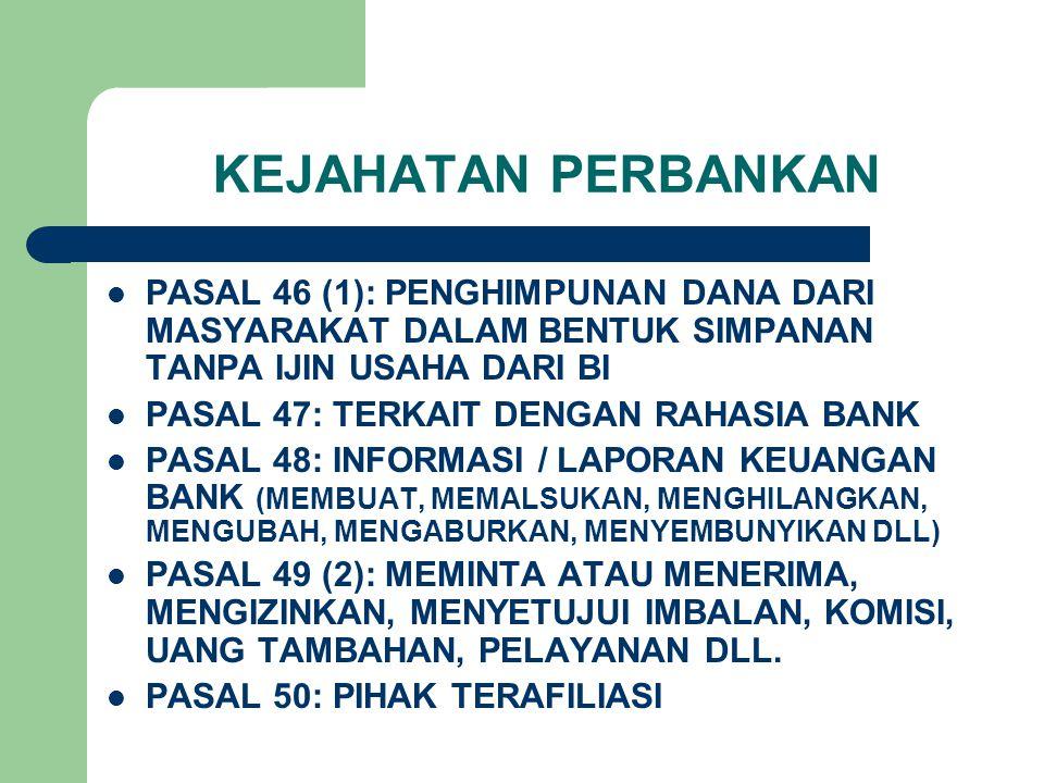 KEJAHATAN PERBANKAN PASAL 46 (1): PENGHIMPUNAN DANA DARI MASYARAKAT DALAM BENTUK SIMPANAN TANPA IJIN USAHA DARI BI PASAL 47: TERKAIT DENGAN RAHASIA BANK PASAL 48: INFORMASI / LAPORAN KEUANGAN BANK (MEMBUAT, MEMALSUKAN, MENGHILANGKAN, MENGUBAH, MENGABURKAN, MENYEMBUNYIKAN DLL) PASAL 49 (2): MEMINTA ATAU MENERIMA, MENGIZINKAN, MENYETUJUI IMBALAN, KOMISI, UANG TAMBAHAN, PELAYANAN DLL.