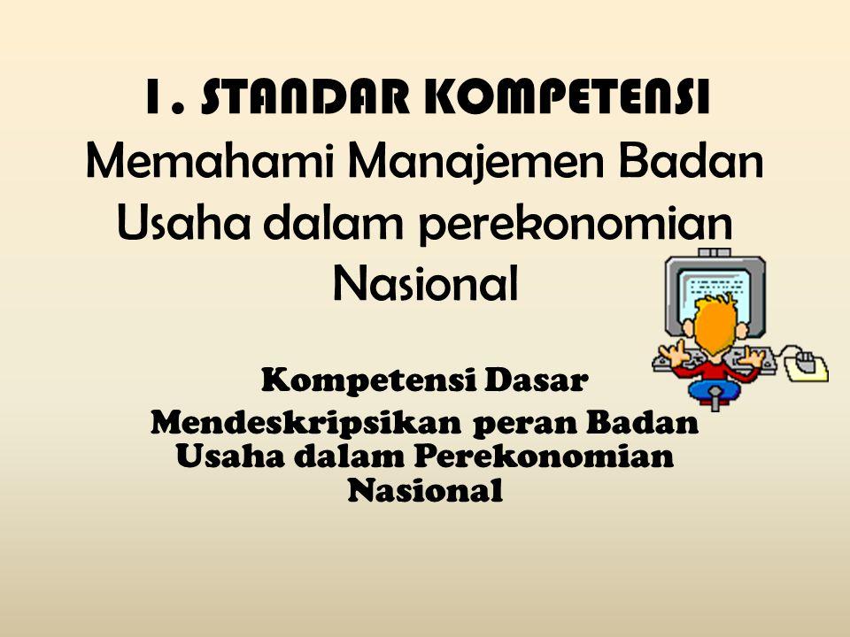 1. STANDAR KOMPETENSI Memahami Manajemen Badan Usaha dalam perekonomian Nasional Kompetensi Dasar Mendeskripsikan peran Badan Usaha dalam Perekonomian