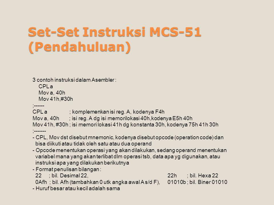 Set-Set Instruksi MCS-51 (Pendahuluan) 3 contoh instruksi dalam Asembler : CPL a Mov a, 40h Mov 41h,#30h ;------ CPL a ; komplemenkan isi reg. A, kode