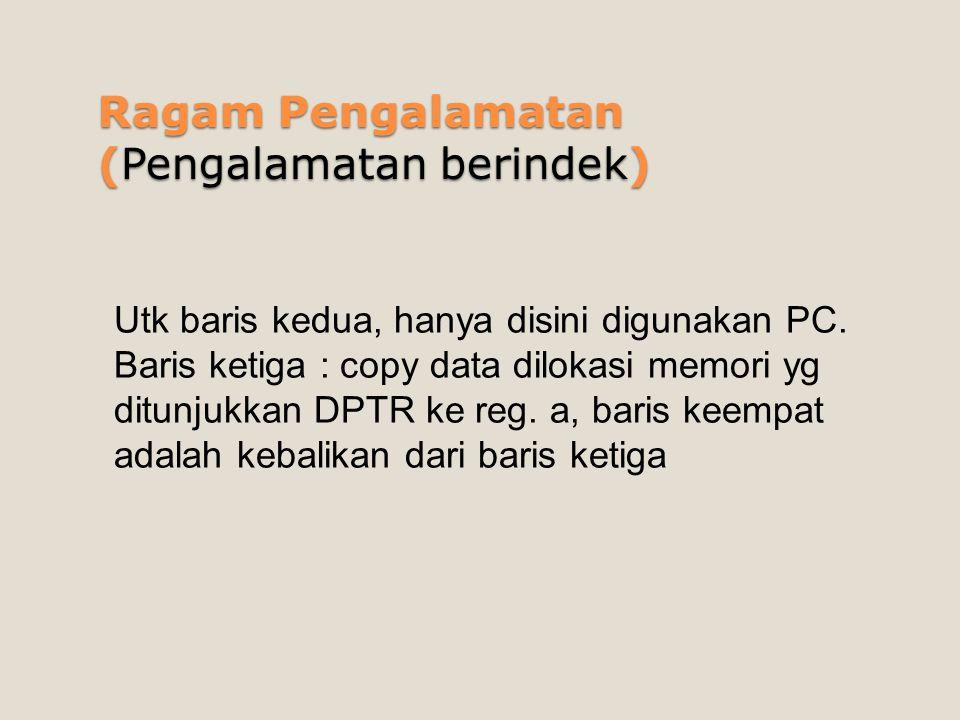 Ragam Pengalamatan (Pengalamatan berindek) Utk baris kedua, hanya disini digunakan PC. Baris ketiga : copy data dilokasi memori yg ditunjukkan DPTR ke