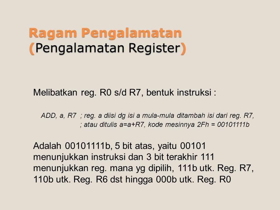 Ragam Pengalamatan (Pengalamatan Register) Melibatkan reg. R0 s/d R7, bentuk instruksi : ADD, a, R7 ; reg. a diisi dg isi a mula-mula ditambah isi dar