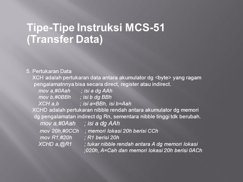 Tipe-Tipe Instruksi MCS-51 (Transfer Data) 5. Pertukaran Data XCH adalah pertukaran data antara akumulator dg yang ragam pengalamatnnya bisa secara di