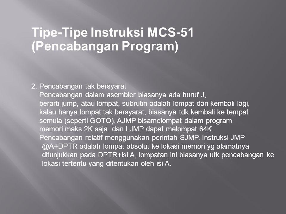 Tipe-Tipe Instruksi MCS-51 (Pencabangan Program) 2. Pencabangan tak bersyarat Pencabangan dalam asembler biasanya ada huruf J, berarti jump, atau lomp