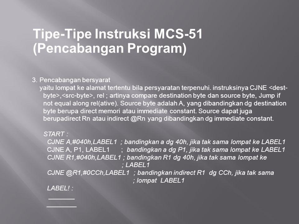 Tipe-Tipe Instruksi MCS-51 (Pencabangan Program) 3. Pencabangan bersyarat yaitu lompat ke alamat tertentu bila persyaratan terpenuhi. instruksinya CJN