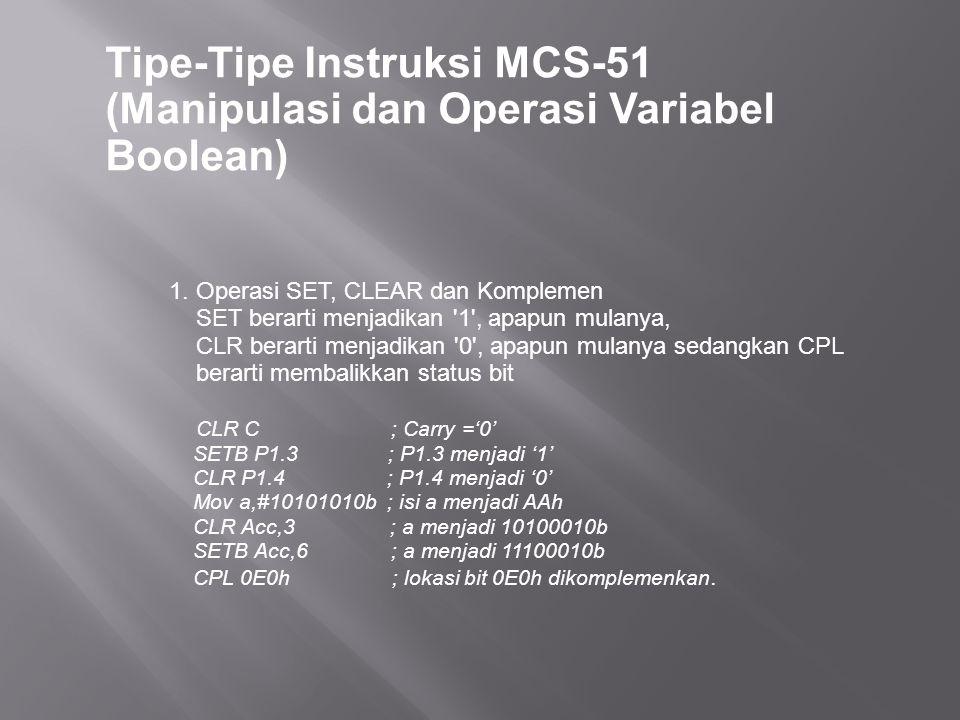 Tipe-Tipe Instruksi MCS-51 (Manipulasi dan Operasi Variabel Boolean) 1. Operasi SET, CLEAR dan Komplemen SET berarti menjadikan '1', apapun mulanya, C