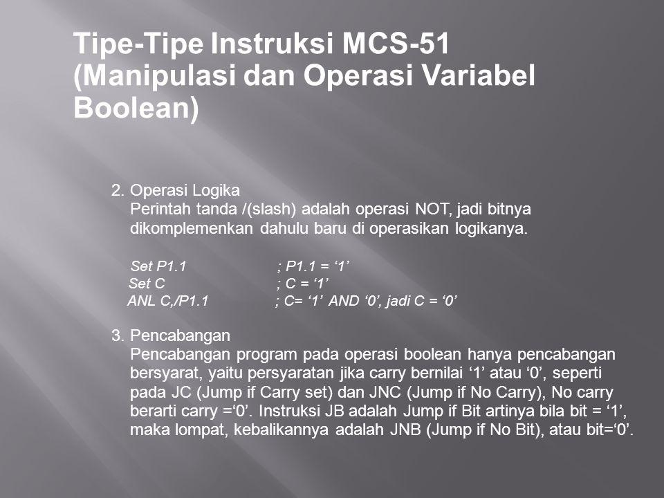 Tipe-Tipe Instruksi MCS-51 (Manipulasi dan Operasi Variabel Boolean) 2. Operasi Logika Perintah tanda /(slash) adalah operasi NOT, jadi bitnya dikompl
