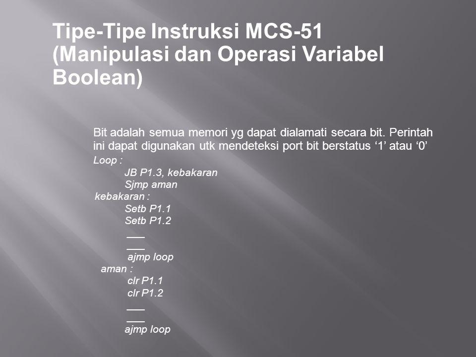 Tipe-Tipe Instruksi MCS-51 (Manipulasi dan Operasi Variabel Boolean) Bit adalah semua memori yg dapat dialamati secara bit. Perintah ini dapat digunak