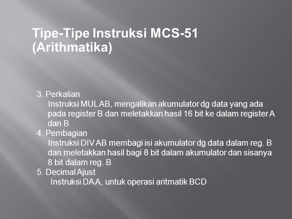 Tipe-Tipe Instruksi MCS-51 (Arithmatika) 3. Perkalian Instruksi MUL AB, mengalikan akumulator dg data yang ada pada register B dan meletakkan hasil 16