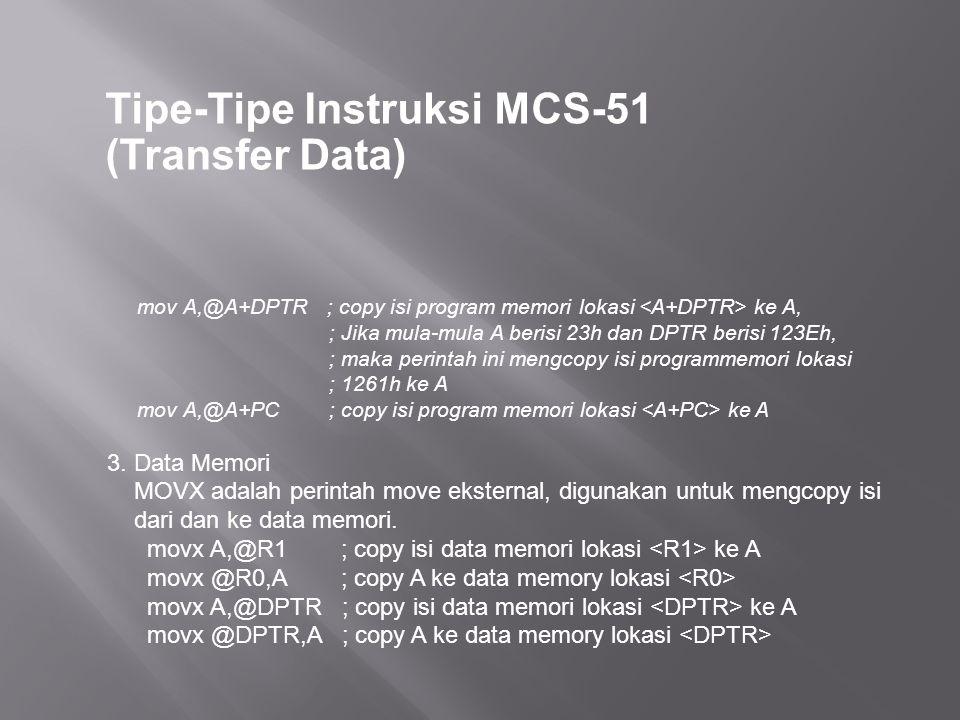 Tipe-Tipe Instruksi MCS-51 (Transfer Data) mov A,@A+DPTR ; copy isi program memori lokasi ke A, ; Jika mula-mula A berisi 23h dan DPTR berisi 123Eh, ; maka perintah ini mengcopy isi programmemori lokasi ; 1261h ke A mov A,@A+PC ; copy isi program memori lokasi ke A 3.