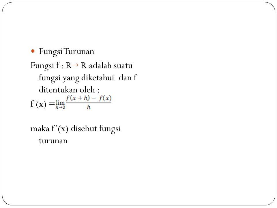 Fungsi Turunan Fungsi f : R R adalah suatu fungsi yang diketahui dan f ditentukan oleh : f ' (x) = maka f'(x) disebut fungsi turunan