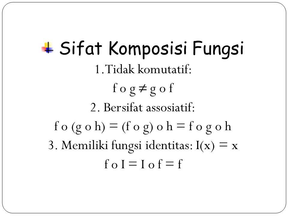 19 Sifat Komposisi Fungsi 1.Tidak komutatif: f o g ≠ g o f 2.