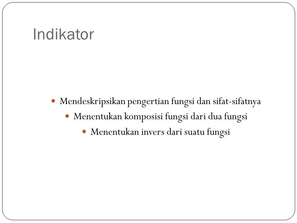 Indikator Mendeskripsikan pengertian fungsi dan sifat-sifatnya Menentukan komposisi fungsi dari dua fungsi Menentukan invers dari suatu fungsi