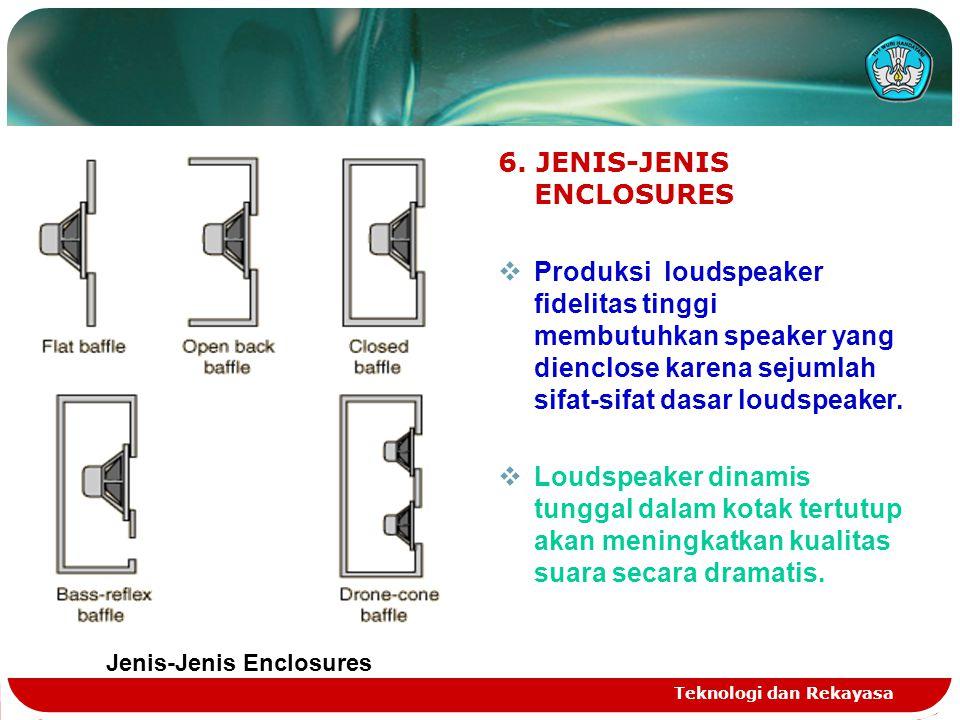 Teknologi dan Rekayasa 6. JENIS-JENIS ENCLOSURES  Produksi loudspeaker fidelitas tinggi membutuhkan speaker yang dienclose karena sejumlah sifat-sifa