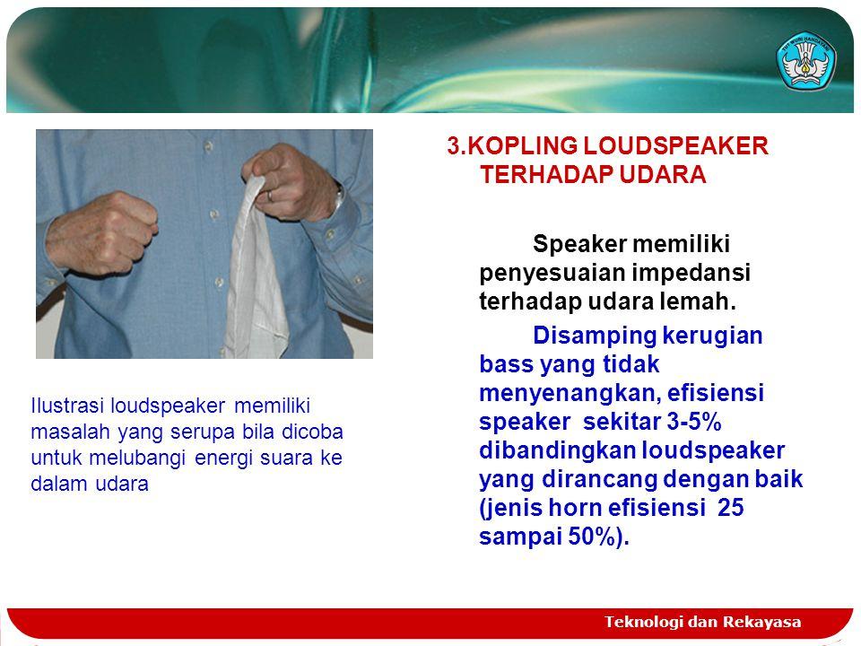 Teknologi dan Rekayasa 3.KOPLING LOUDSPEAKER TERHADAP UDARA Speaker memiliki penyesuaian impedansi terhadap udara lemah. Disamping kerugian bass yang