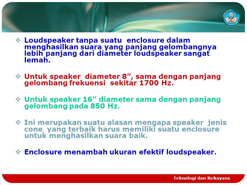 Teknologi dan Rekayasa  Loudspeaker tanpa suatu enclosure dalam menghasilkan suara yang panjang gelombangnya lebih panjang dari diameter loudspeaker