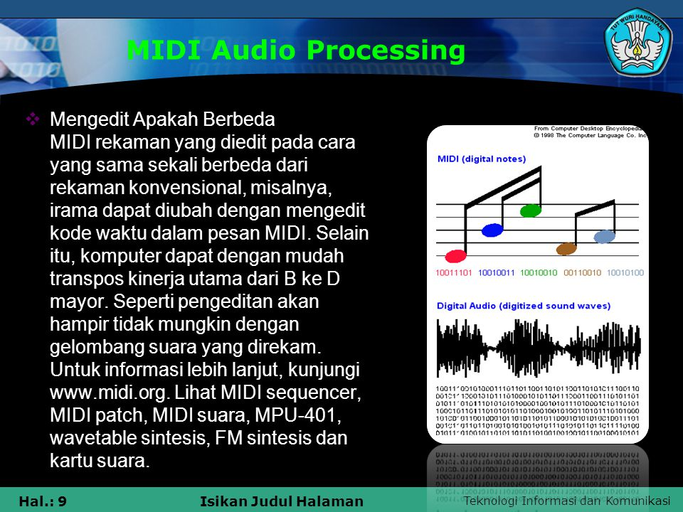 Teknologi Informasi dan Komunikasi Hal.: 10Isikan Judul Halaman MIDI Audio Processing  Audio Processing Pipelines  Selama puluhan tahun berpengalaman pengguna Unix telah mempekerjakan banyak alat pengolahan teks untuk membuat tugas- tugas editing dokumen lebih mudah.