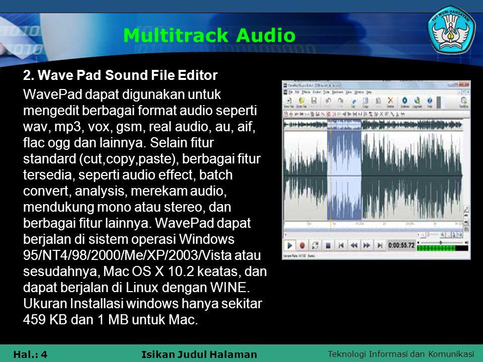 Teknologi Informasi dan Komunikasi Hal.: 4Isikan Judul Halaman Multitrack Audio 2. Wave Pad Sound File Editor WavePad dapat digunakan untuk mengedit b