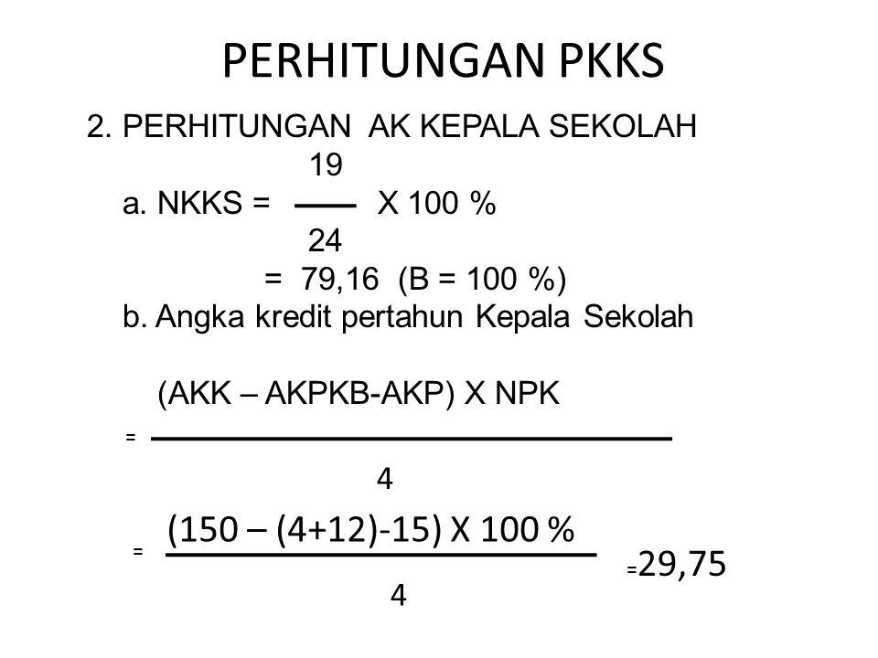 PERHITUNGAN PKKS 2. PERHITUNGAN AK KEPALA SEKOLAH 19 a. NKKS = X 100 % 24 = 79,16 (B = 100 %) b. Angka kredit pertahun Kepala Sekolah (AKK – AKPKB-AKP