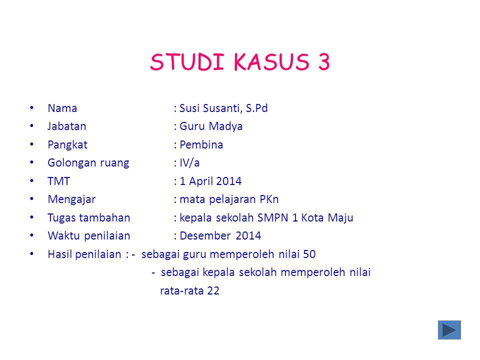 STUDI KASUS 3 Nama: Susi Susanti, S.Pd Jabatan: Guru Madya Pangkat: Pembina Golongan ruang: IV/a TMT: 1 April 2014 Mengajar : mata pelajaran PKn Tugas