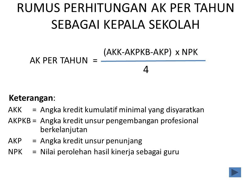 Prosedur Menghitung Angka Kredit Guru dengan tugas Tambahan Kepala Sekolah Hasil Penilaian PKG & PKKS (Jml.