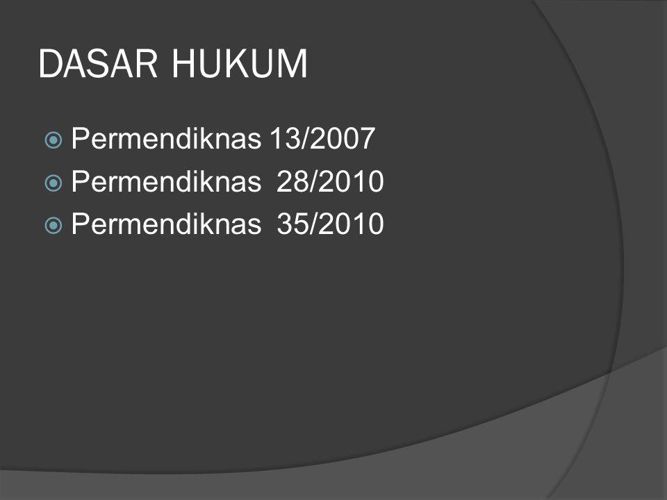 DASAR HUKUM  Permendiknas 13/2007  Permendiknas 28/2010  Permendiknas 35/2010