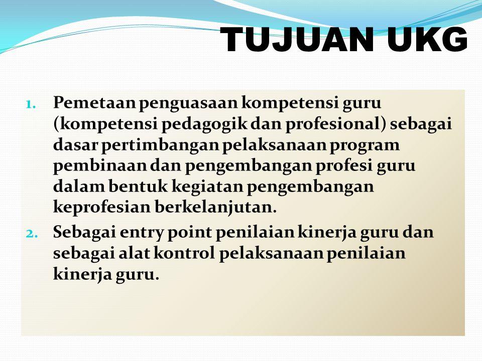TUJUAN UKG 1. Pemetaan penguasaan kompetensi guru (kompetensi pedagogik dan profesional) sebagai dasar pertimbangan pelaksanaan program pembinaan dan