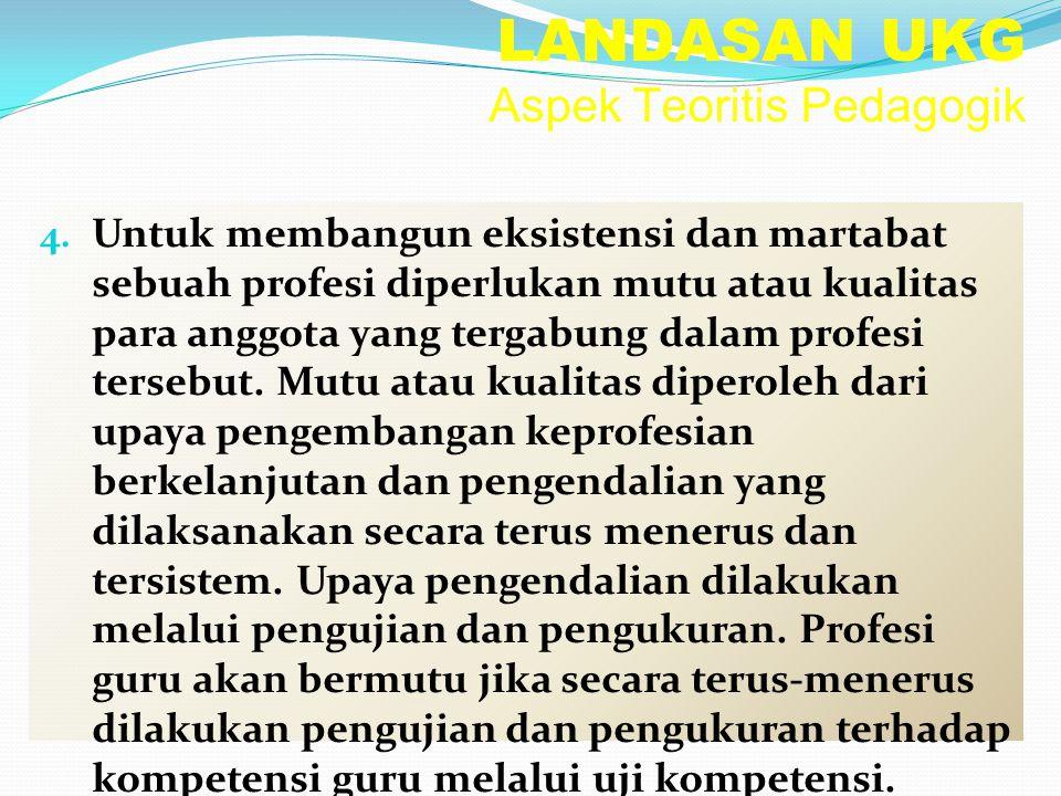 LANDASAN UKG Aspek Teoritis Pedagogik 4. Untuk membangun eksistensi dan martabat sebuah profesi diperlukan mutu atau kualitas para anggota yang tergab