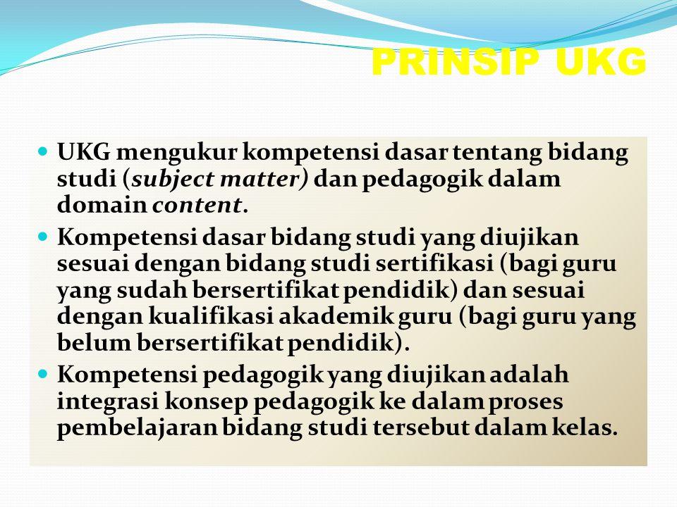 PRINSIP UKG UKG mengukur kompetensi dasar tentang bidang studi (subject matter) dan pedagogik dalam domain content. Kompetensi dasar bidang studi yang