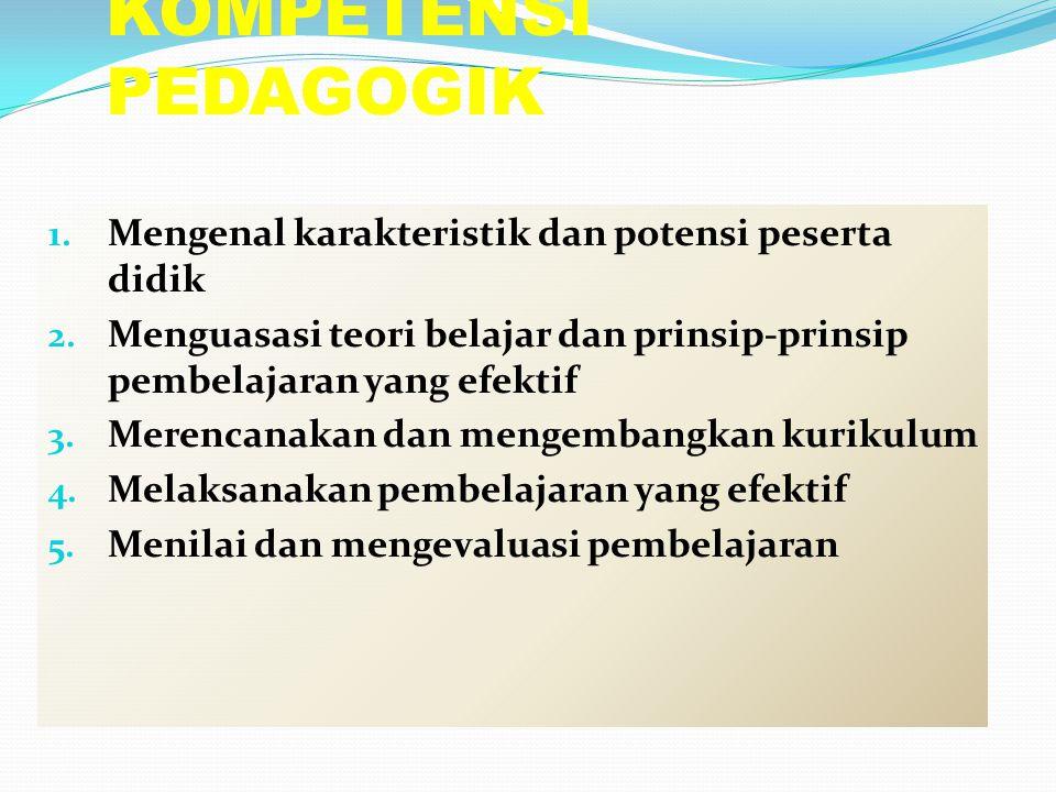 KOMPETENSI PEDAGOGIK 1. Mengenal karakteristik dan potensi peserta didik 2. Menguasasi teori belajar dan prinsip-prinsip pembelajaran yang efektif 3.