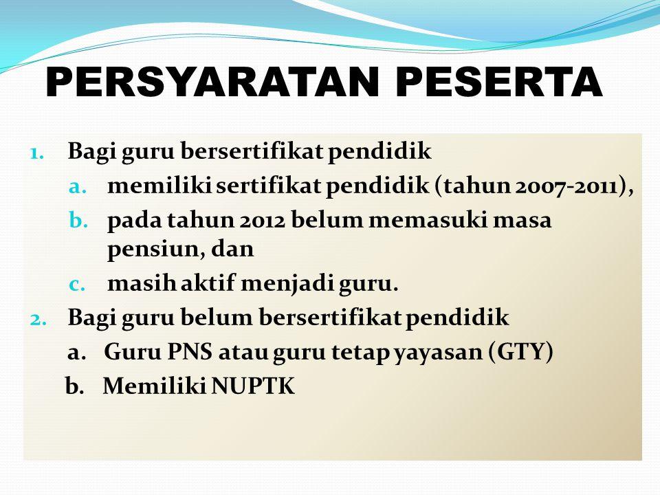 PERSYARATAN PESERTA 1. Bagi guru bersertifikat pendidik a. memiliki sertifikat pendidik (tahun 2007-2011), b. pada tahun 2012 belum memasuki masa pens