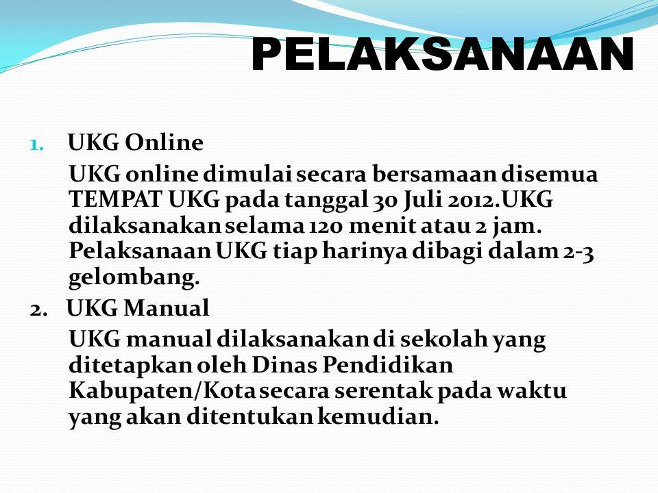 PELAKSANAAN 1. UKG Online UKG online dimulai secara bersamaan disemua TEMPAT UKG pada tanggal 30 Juli 2012.UKG dilaksanakan selama 120 menit atau 2 ja