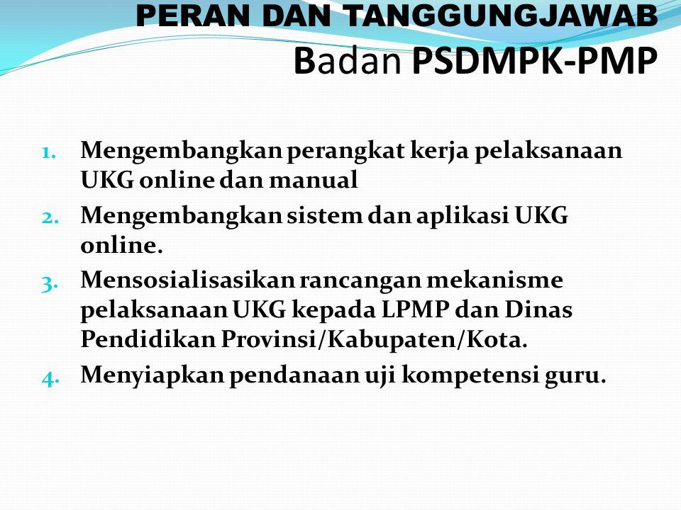 PERAN DAN TANGGUNGJAWAB Badan PSDMPK-PMP 1. Mengembangkan perangkat kerja pelaksanaan UKG online dan manual 2. Mengembangkan sistem dan aplikasi UKG o
