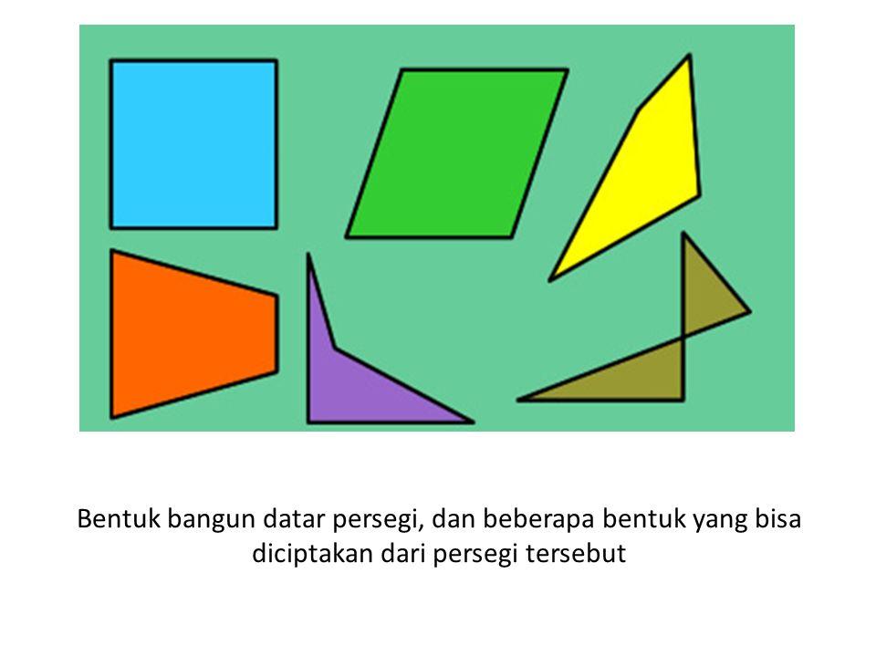 Bentuk bangun datar persegi, dan beberapa bentuk yang bisa diciptakan dari persegi tersebut