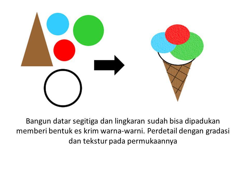 Bangun datar segitiga dan lingkaran sudah bisa dipadukan memberi bentuk es krim warna-warni. Perdetail dengan gradasi dan tekstur pada permukaannya