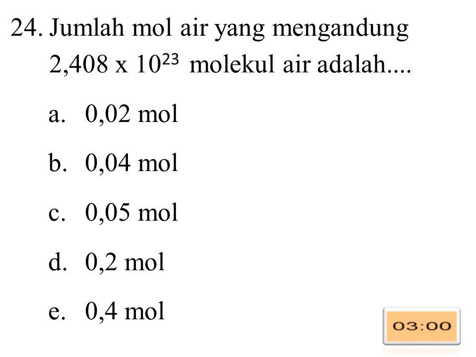 24.Jumlah mol air yang mengandung 2,408 x 10 23 molekul air adalah....